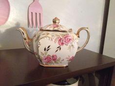 Sadler England Teapot - White w/ Pink Rose - sold for $380