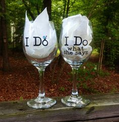 Personalized Bride and Groom Wedding Wine Glasses on Etsy, £13.30
