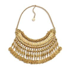Gold Coin Statement Bib Necklace