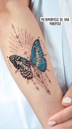Simple Tattoos For Women, Butterfly Tattoos For Women, Butterfly Tattoo Designs, Cool Small Tattoos, Cool Tattoos, Tatoos, Butterfly Wrist Tattoo, Thigh Tattoo Designs, Mini Tattoos