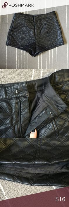 Leather Shorts Leather high wasted short that would look amazing for a night out or just to look cute! Worn once or twice, has a lining so the leather isn't uncomfortable. It is missing the top button, but you can easily sew one on. Always open to debating price! Shorts