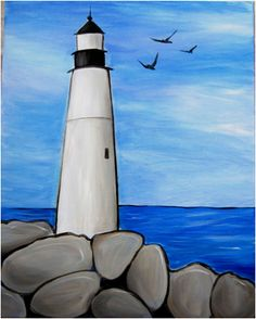 painted stone lighthouse silhouette on back background Easy Canvas Painting, Simple Acrylic Paintings, Easy Paintings, Diy Painting, Painting & Drawing, Canvas Art, Painting Classes, Kids Canvas, Lighthouse Painting