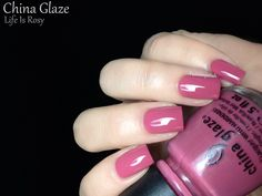 China Glaze Avant Garden Spring 2013 Review  Life Is Rosy is a medium rosy pink crelly.