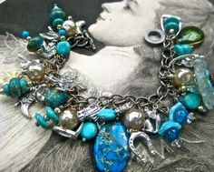 Charm bracelet Horse Jewelry Equestrian riding horse charm and turquoise bracelet vintage and new ooak tateam