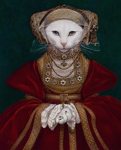 """Mouse of Cleaves"" (original painting, Anne of Cleves by Hans Holbein the Younger) ~ Melinda Copper"
