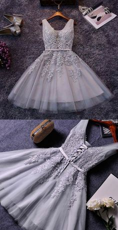 Cute A-line grey lace short prom dress,homecoming dresses from Little Cute - Renee Marino Prom Dresses Dama Dresses, Cute Prom Dresses, Prom Outfits, Prom Dresses For Teens, Prom Dresses Long With Sleeves, Black Prom Dresses, Pretty Dresses, Dress Long, Open Dress