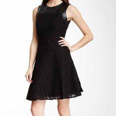 Taylor Vegan Leather Trim Black Dance Dress Fit and flare black dance dress by Taylor with vegan leather trim, full lining and back zip closure. Taylor Dresses Mini