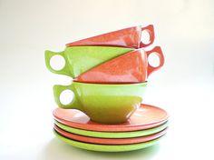 Vintage Melamine Cups & Saucers /  Mid Century by vintagebiffann