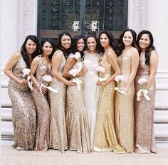 Pretty sparkles. Different shades of gold and pink + sequins the perfect combination. Major love for this bridesmaids dresses!