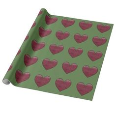 Red Hearts On Green Pattern Wrapping Paper - paper gifts presents gift idea customize