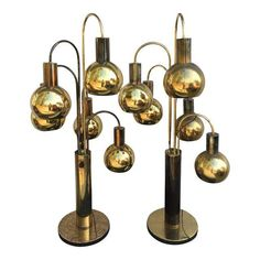 Image of Mid Century Brass Waterfall Eyeball Lamps - A Pair