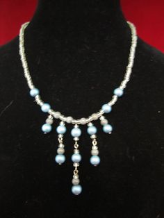 Dreams of blue jewelry set....two necklaces, bracelet, and earrings by craftsforlove on Etsy