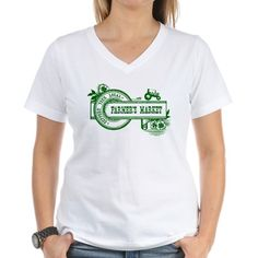 SUPPORT YOUR LOCAL FARMERS MARKET Women's V-Neck T