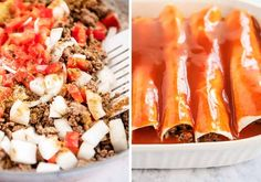 Beef Enchiladas Recipe - Loaded with a delicious filling made with ground beef, cheese and veggies. These beef enchiladas are easy, cheesy and delicious. A dish your whole family will love! Mexican Dishes, Mexican Food Recipes, Rellenos Recipe, Easy Beef Enchiladas, Freezer Friendly Meals, Big Salad, Enchilada Recipes, Weeknight Meals, Ground Beef