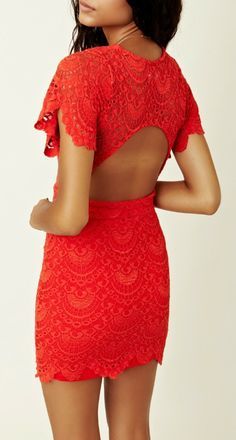 Red lace dress ...wow