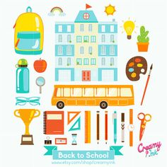 Back To School Digital Vector Clip art/ School Days Clipart Design Illustration / Kids, Children, Teacher, Student, Stationery