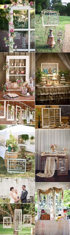 Windows for props in a rustic romantic wedding. Windows to your future