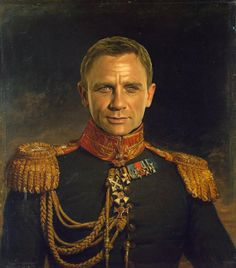 Steve Payne replaces the faces originally painted of military men by George Dawe with famous actors' faces like Daniel Craig