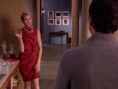 Lily Bass red dress diamond necklace Gossip Girl