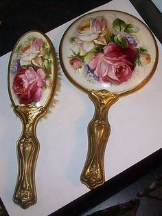 Antique French Ormolu Ladies Vanity Porcelain Roses Hand Mirror Brush Set | eBay