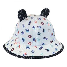 Baby Nautical Bucket Hat with Ears available at Ear Hats, Hat Shop, Summer Boy, Kids Hats, Bucket Hat, Ears, Nautical, Cute, How To Wear