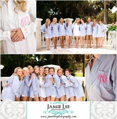 Colonial Country Club | Fort Myers Wedding Photographer | Jamie Lee Photography | Preppy Wedding | Blue Pinstripe | Bridesmaids in Matching Monogrammed Shirts
