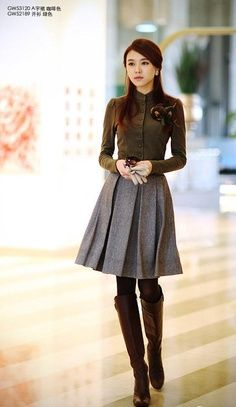 Embellished sweater, wool a-line, and boots. So cute! | best stuff