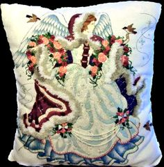 Checkout this amazing deal Gordon Angel Needleart Beaded CrewelEmbroidery Pillow Barbara Ann,$855.99