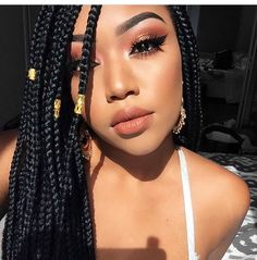 Top 60 All the Rage Looks with Long Box Braids - Hairstyles Trends Afro Braids, African Braids, Box Braids Hairstyles For Black Women, Trendy Hairstyles, Skin Makeup, Flawless Makeup, Curly Hair Styles, Natural Hair Styles, Long Box Braids