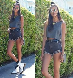 HM Cropped, Choies Shorts, Dr. Martens Boots, Urban Outfitters Bag, Topshop Necklace, Urban Outfitters Sunglasses