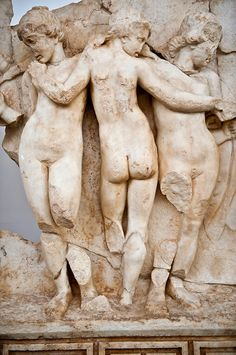 Roman relief sculpture of Tree Graces from the South Building, Second storey, Aphrodisias, Turkey