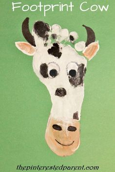 """We are continuing with our footprint crafts A-Z. Last night we were at letter C. We named off a few words that started with the """"C"""" & chose to make a cow craft. As always…Continue Reading… Farm Animal Crafts, Farm Crafts, Daycare Crafts, Preschool Crafts, Farm Animals, Daycare Rooms, Kid Crafts, Easter Crafts, Halloween Crafts"""