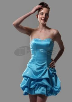 A-line Sweetheart Short/ Mini Satin Short Prom Dresses Blue Party Dress, Strapless Dress Formal, Formal Dresses, Satin Shorts, Sweet 16 Dresses, Special Occasion Dresses, Pretty Outfits, Wedding Events, Short Dresses