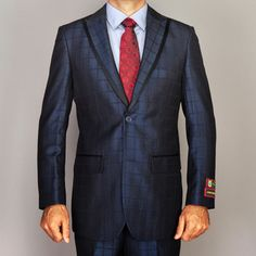 I'm not sure if I love or hate this suit. It most certainly is different, and on the right man, would be DASHING. Giorgio Fiorelli Men's Windowpane Navy Blue Modern Lapel Suit