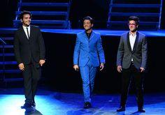 Italian operatic pop singers Piero Barone, Gianluca Ginoble and Ignazio Boschetto of Il Volo perform at Gibson Amphitheatre on August 28, 2013 in Universal City, California.
