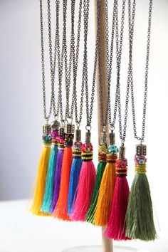 "Tassel Necklace (about 4"") on long chain (about 24"")"