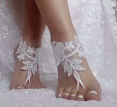 ba9e489a54f71 Bridal Ivory Lace Sandals White Bridal Shoes