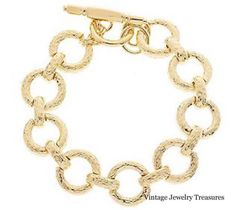 QVC-Kenneth-Jay-Lane-KJL-Textured-Round-Link-Toggle-Bracelet-New-with-Tags