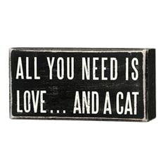 Box Sign - Love and a cat