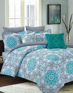 Crest Home Sunrise King Size Bedding Comforter 7 Pc. Bed Set, Teal Blue and Gray Medallion – Bedding – Bed & Bath - GreyDock.com