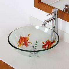 New Bathroom Koi Fish Glass Vessel Sink Chrome Single Lever Faucet Combo | eBay