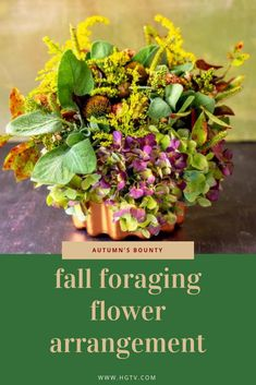 The experts at HGTV show you how to create a seasonal fall arrangement with forage botanicals from your garden. Fall Flowers, Summer Flowers, Flowers Garden, Fall Flower Arrangements, Raffle Baskets, Autumn Nature, Fall Projects, Clay Pots, Decorating On A Budget
