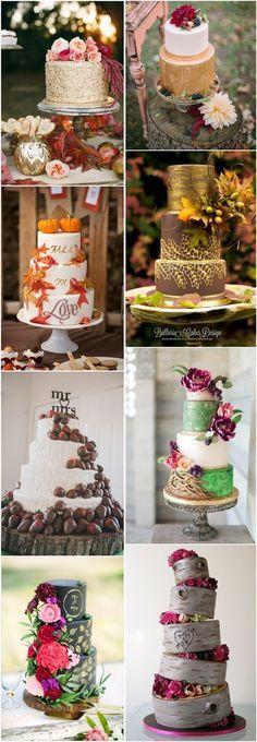 fall wedding cakes- fall wedding ideas- rustic wedding cake ideas - Deer Pearl Flowers