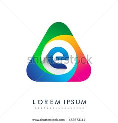 logo E letter, colorful icon in the triangle shape, Vector design template…