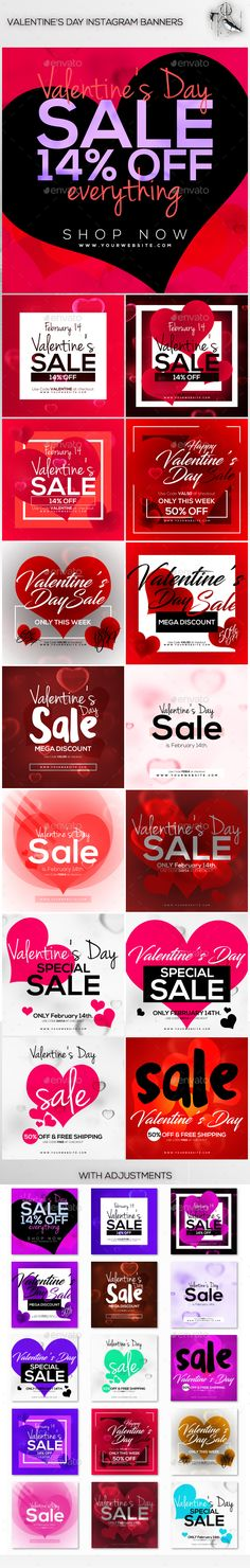 15 Valentine's Day Instagram Banners - Social Media Web Elements