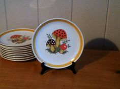 Merry Mushroom Dinner Plate (set of 10) on Etsy, $50.00