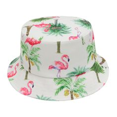 Hat Depth: Hood: Due to the light and screen setting difference, the item's color may be slightly different from the pictures. Mens Bucket Hats, Cheap Caps, Travel Hat, Sun Cap, Bucket Cap, Fisherman's Hat, Flamingo Print, Gold Top, Summer Bucket