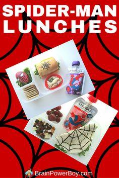 2 Spider-man lunches for your superhero! These lunches feature fun food to give your kids that extra protein punch they need to make it through their day including delicious Chobani Greek yogurt in a Spider-man pouch. Created by BrainPowerBoy.com sponsored by Chobani.