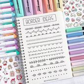 More simple border ideas that you can use in your bullet journal or in your stud. - More simple border ideas that you can use in your bullet journal or in your study notes 🥰 Let me - Bullet Journal School, Bullet Journal Inspo, Bullet Journal Titles, Bullet Journal Banner, Journal Fonts, Bullet Journal Notebook, Bullet Journal Aesthetic, Bullet Journal Period Tracker, Stationery Craft