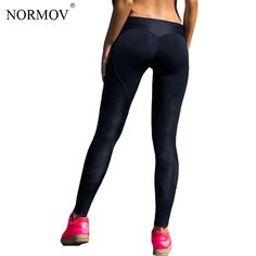 6506679626a2a NORMOV Sexy Push Up Black Leggings Women Workout Mesh Patchwork Legging  Femme Casual Peach Heart Shaped